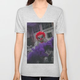 Halloween Scary Clown (Color) Unisex V-Neck