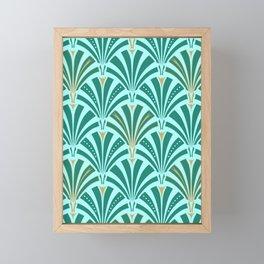 Art Deco Fan Pattern Turquoise on Aqua Framed Mini Art Print