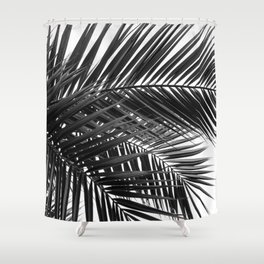 Tropical Palm Leaves - Black and White Nature Photography Shower Curtain