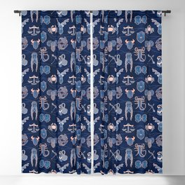 Geometric astrology zodiac signs // navy blue and coral Blackout Curtain