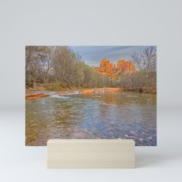 Cathedral Rock viewed from Oak Creek in Sedona AZ Mini Art Print