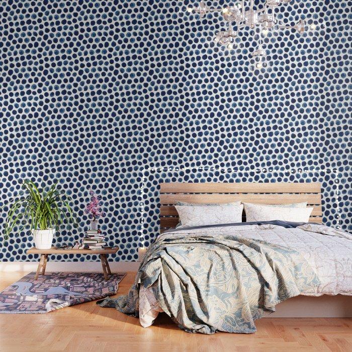 Large Indigo/Blue Watercolor Polka Dot Pattern Wallpaper