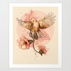 Bird&flowers Art Print