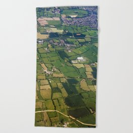 aerial view fields british countryside map pattern Beach Towel
