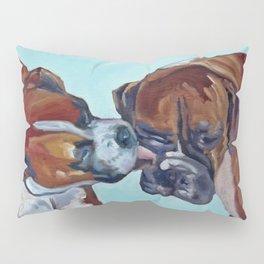Kissing Boxers Dogs Portrait Pillow Sham