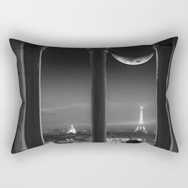 Paris in the Moonlight, Eiffel Tower, Sacré-Cœur Basilica, & Champs-Elyse black and white photograph Rectangular Pillow