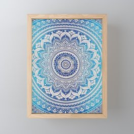 Teal And Aqua Lace Mandala Framed Mini Art Print