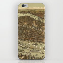 Vintage Pictorial Map of NYC and Brooklyn (1892) iPhone Skin