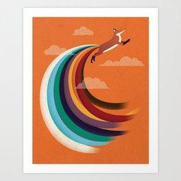 9 Colors Tail Fox Art Print