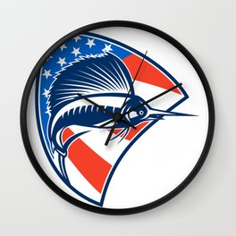 Sailfish Fish Jumping American Flag Shield Retro Wall Clock