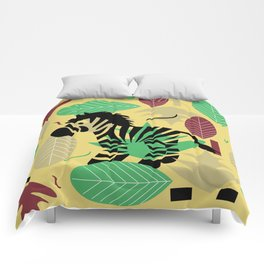 Zebra with leaves and dots Comforters