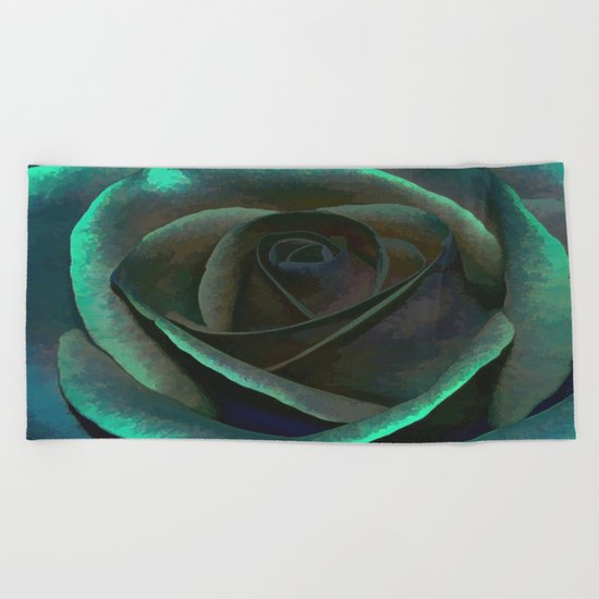 Northern Lights Rose Beach Towel