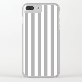 Grey and White Vertical Stripes Clear iPhone Case