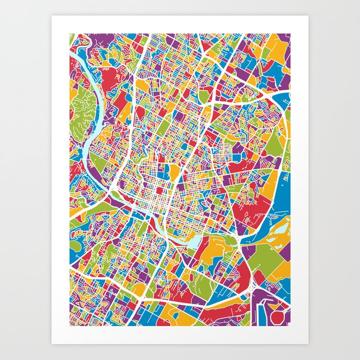 Austin Texas City Map Art Print by artpause | Society6