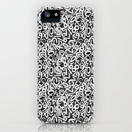 Numbers pattern in black and white iPhone Case