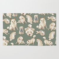 shiba inu Area & Throw Rugs featuring Kiba The Blind Shiba, Concept Art by Bark Point Studio