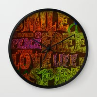 hippie Wall Clocks featuring Hippie by BLOOP