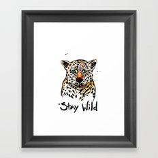 Stay Wild Leopard Illustration Framed Art Print