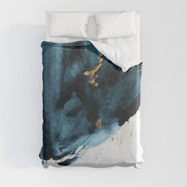 A Minimal Sapphire and Gold Abstract piece in blue white and gold by Alyssa Hamilton Art  Duvet Cover
