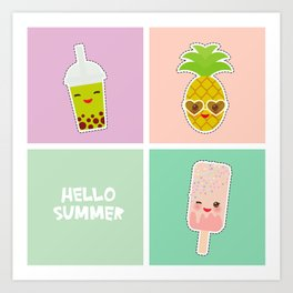 Hello Summer bright tropical card, pineapple, smoothie cup, ice cream, bubble tea. Kawaii cute face. Art Print
