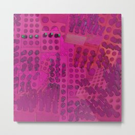 I Love You Letter Punches Abstract Pink Metal Print