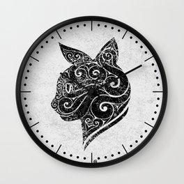 Swirly Cat Portrait Wall Clock
