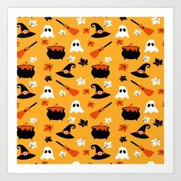Happy halloween pots, ghosts and brooms Art Print