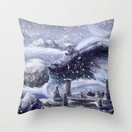 Arctic Dragon Throw Pillow