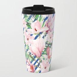 Modern blue white stripes blush pink green watercolor floral Travel Mug