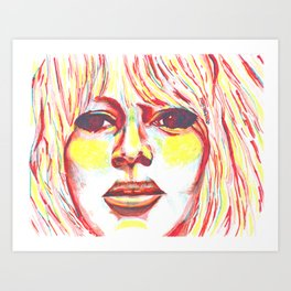 Bridget Bardot in Bright Primary Lines Art Print