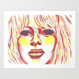 Bridget Bardot in Bright Primary Lines Art Print