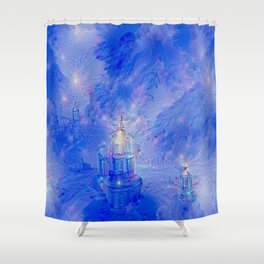 The Teapot Village - Blue Japanese Lighthouse Village Artwork Shower Curtain