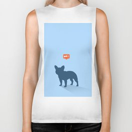 Frenchie Expectations - Baby Blue Biker Tank