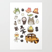 studio ghibli Art Prints featuring studio ghibli  by skymerol