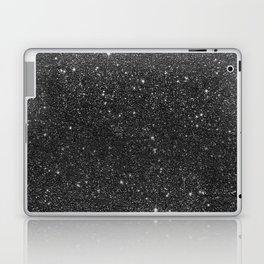 Modern chic elegant trendy faux black glitter Laptop & iPad Skin