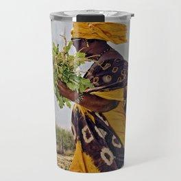Fatimata in the village garden, Timbuktu Travel Mug