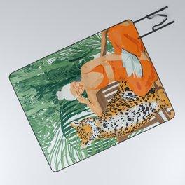 Jungle Vacay #painting #illustration Picnic Blanket