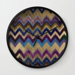 Modern faux gold pink navy blue purple ikat pattern Wall Clock