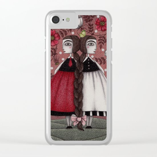 Snow-White and Rose-Red (1) Clear iPhone Case