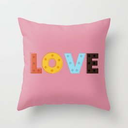 happy LOVE - typography Throw Pillow