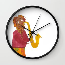 A Sunny Saxophonist Wall Clock