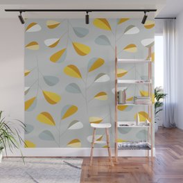 Mid Century Modern Graphic Leaves Pattern 2. Pastel Grey Wall Mural