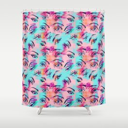 Mascara and colored eye shadow Pattern Shower Curtain