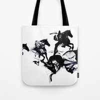 horses Tote Bags featuring Black horses by Robert Farkas