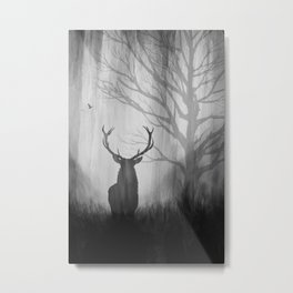 Black and White Stag Silhouette Metal Print