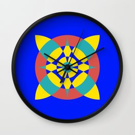 Flower Circles on Blue Wall Clock