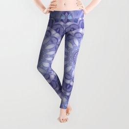 Light Blue, Lavender & and White Mandala 02 Leggings