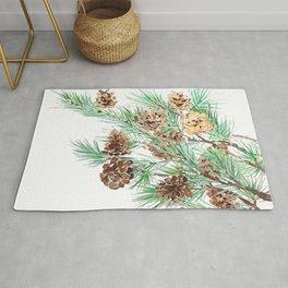 pine cones watercolor Rug