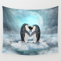 nirvana Wall Tapestries featuring Listen Hard (Penguin Dreams) by soaring anchor designs