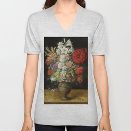 """Osias Beert """"Flowers in a German tigerware vase, with a bluebottle fly and a Red Admiral butterfly"""" Unisex V-Neck"""